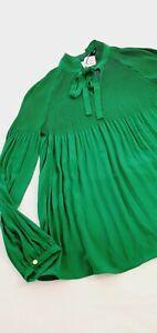 Lauren Ralph Lauren Georgette Tie-Neck blouse/top UK size 16, BNWT Green