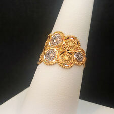 "GOLDSHINE 22K Yellow White Gold RING Size 7.25/7.5 Handcrafted HALLMARKED ""916"""