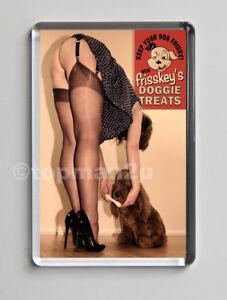 New Retro Style Quality Fridge Magnet, 50s Sexy Pin Up FRISKY Stockings, heels