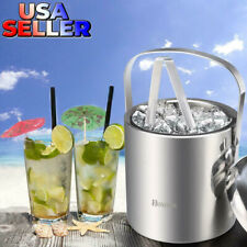 Homdox Ice Bucket Stainless Steel Ice Buckets Tongs Double Wall Insulated Silver