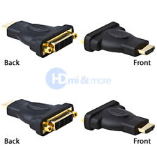 HDMI Male to DVI-D Female Adapter Gold Plated Connector - LOT of 2