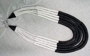 "15"" Multi Strand Layered Necklace Tribal Natural Wood Beads Bone White & Black"
