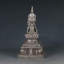 EXQUISITE TIBETAN SILVER BUDDHA&PAGODA INCENSE BURNER
