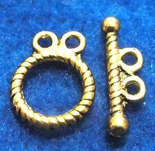 50Sets Wholesale Tibetan Antique Gold 2 Strand Toggle Clasps Hooks Finding Q0444