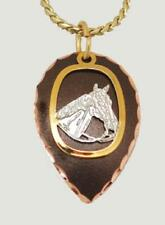 NEW! Western Copper and Black Patina Horse Head Necklace on Gold Chain