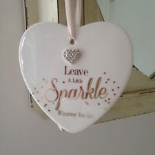 Shabby Chic Decorative Hanging Large Ceramic Heart with Text and Diamante Heart