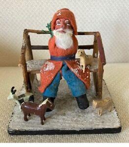 Antique German Christmas SANTA CLAUS Sitting on a BENCH (w/ Putz Animals)