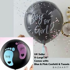 """GIANT 36"""" XL GENDER REVEAL BLACK BOY OR GIRL CONFETTI BALLOON WITH TASSELS UK"""