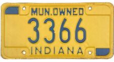 Indiana MUNICIPAL OWNED License Plate #3366 No Reserve