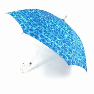 Coach Blue Mini C Print Stick Umbrella Lucite Handle and Shaft NWT MSRP $148.00