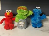 Lot 3 Plush Sesame Street OSCAR Grouch 40th Anniversary, ELMO & Cookie Monster *