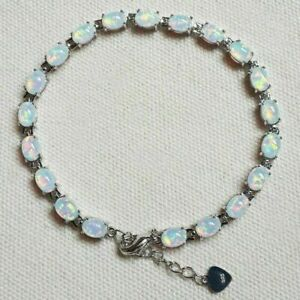 """Stunning Sterling Silver Dipped Oval White Fire Opal Tennis Bracelet 7.5""""-8'"""