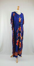 Cobalt Blue Floral Batik Drawstring Kaftan Maxi Dress