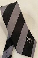 Original Penguin Black & Grey Diagonal Striped 100% Silk Tie Narrow Width