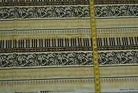 "By 1/2 Yd, Black Gold & Tan Piano Music Quilt Fabric, Clothworks/""Maestro"" N5366"