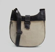 Longchamp Beige & Dark Brown Canvas & Leather Unisex Messenger Bag