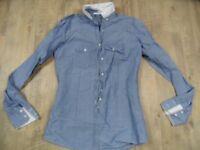 AGLINI leichte Jeansbluse variabler Kragen blau Gr. it. 42 TOP KoS1217