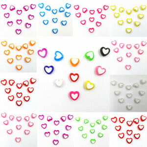 50X Heart Shape Acrylic Loose Beads DIY For Jewelry Making Pendant Wholesale 8mm