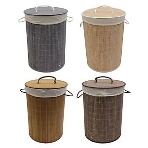 JVL Bamboo Collapsible Washing Laundry Basket with Removable Lining
