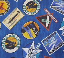 Aviator BTY Dan Morris Quilting Treasures Airlines Vintage Prop Planes Ads Blue
