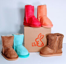 Liv Boots Infant Toddler Faux Fur Suede Size S M L XL Hot Pink Teal Brown Salmon