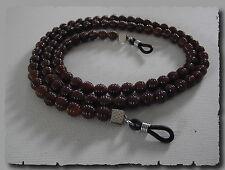 Cordon attache lunettes pour homme & femme vue soleil perles marron brun collier