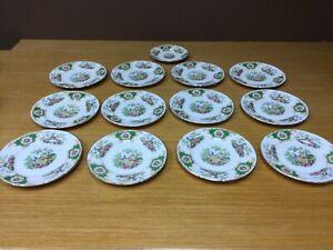 "12 Vintage EB Foley Green Broadway Bone China 6"" Bread Plates - England"