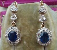Stunning art deco 18ct gold 2.5ct oval cut sapphire and diamond drop earrings