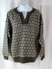 Dale of Norway Ladies Wool sweater Lg Dark Green Snowflake pattern Latch neck