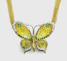 Yellow Sapphire, Emerald & Diamond Butterfly Necklace by Chimento 18K - HM1501