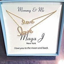 Mother-Daughter 18k Gold over Sterling Silver 'LOVE' in Script 2 Necklaces MJ-4A