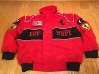 Boys Ferrari Vodafone Puffy F1 Racing Jacket Red Black Size MEDIUM Kids