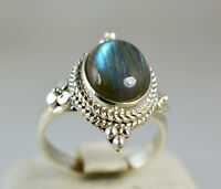 Labradorite Silver Ring 925 Solid Sterling Silver Handmade Jewelry size 3-14 US