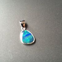 Aussie Doublet OPAL pendant S925 coated W/Rhodium(White) 6.27cts Sparking colors
