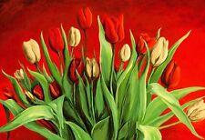 A. S. Tulipanes ROJO-BLANCO 65x95 bastidor de cuña - imagen