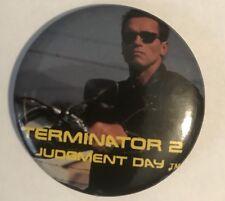 Vtg 1991 CAROLCO Terminator 2 Judgment Day PROMO Pinback Button Pin T2 RARE bike