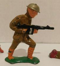 Vintage Barclay Manoil Soldier Standing with Black Machine Gun - Tin Helmet