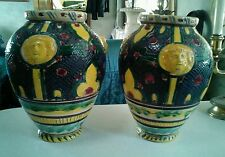 Amazing pair of Early Italian Majolica vases with faces.