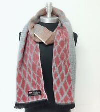New 100% CASHMERE SCARF Classic Plaid Coral White Black Scotland SOFT Wool Wrap