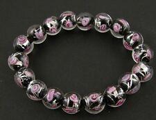 Armband handgemachte Glasfolie-Perlen Glasperlen klar schwarz rosé NEU