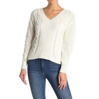 Abound women's white cable knit white v-neck long sleeve pullover sweater XXL