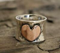 925 Sterling Silver Heart spinning ring, Spinner ring anxiety Two Tone ring d30