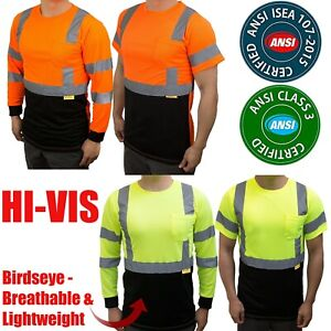 Hi Vis Safety Class 3 Long Sleeve T Shirt with Moisture Wicking Mesh Orange Lime