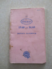 Original 1962 Wolseley 15/60 and 16/60 automobile owner's manual