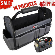 Collapsible Tote Exterior Tapered Pockets Construction Tools Organizer Work
