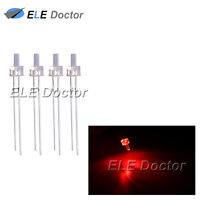 100pcs 2mm Water Clear Red Light Flat Top Transparent LED Diodes 14000Mcd