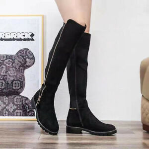 NEW WOMENS LADIES KNEE HIGH SUEDE FAUX STUDS LOW FLAT HEEL BOOTS SHOES SIZE UK