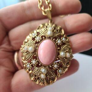Vintage Avon Gold Tone Faux Pearls Pendant Chain Necklace 24'L