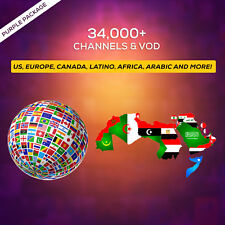 1 Year IPTV SUBSCRIPTION +34000 Ch&VOD US, CANADA, EUROPE, LATINO, AFRICA, AR