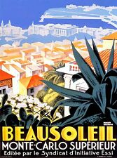 Beausoleil Monte Carlo France French Vintage Travel Poster Advertisement